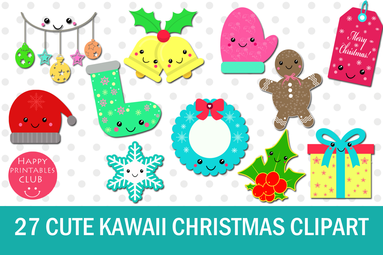 27 Cute Kawaii Christmas Clipart.