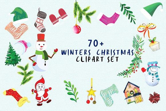Winter Christmas Clipart Set.
