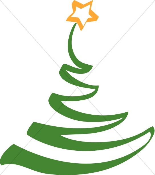 Simple Artistic Christmas Tree Clipart.