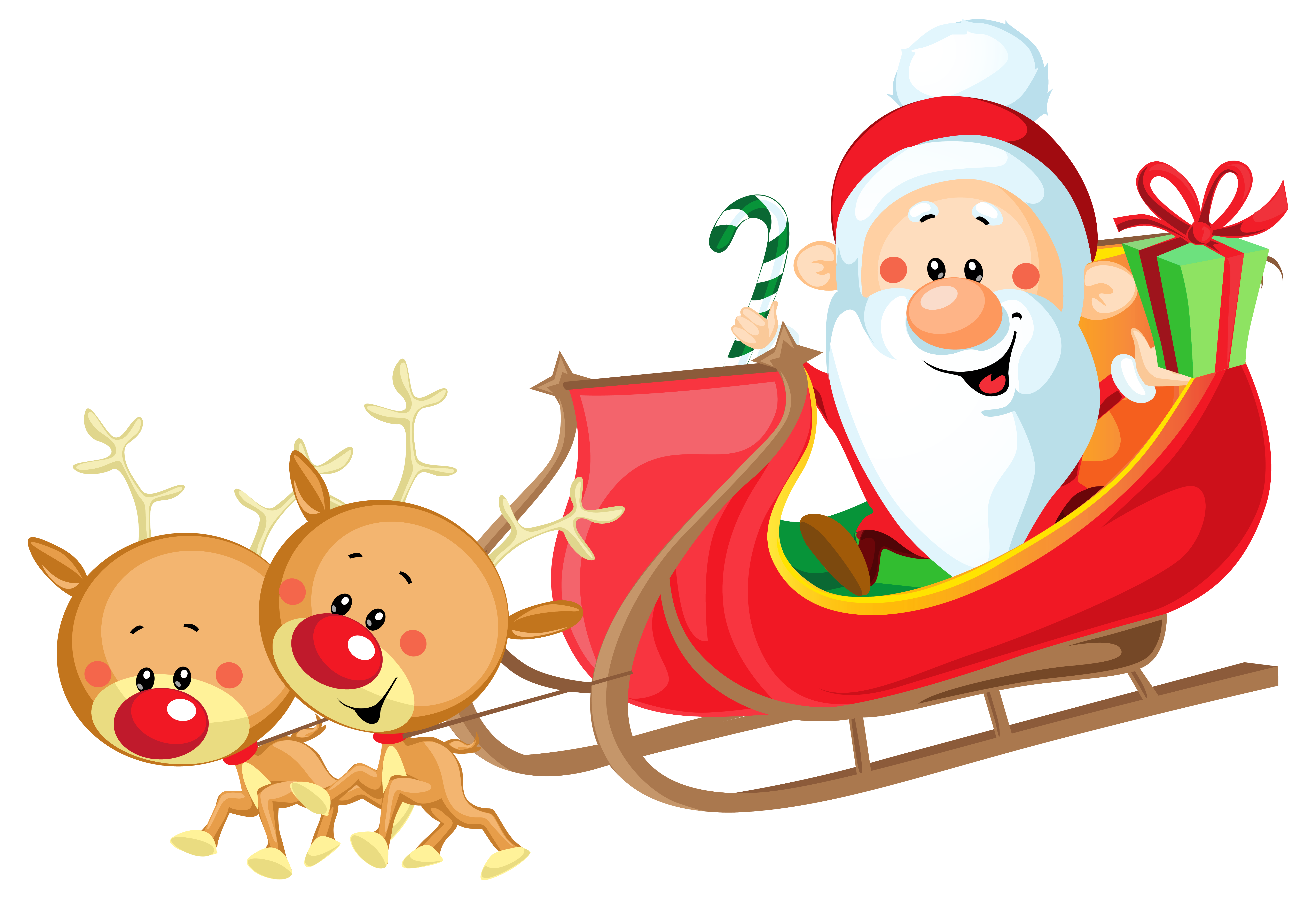 Cute Santa with Sleigh PNG Clipart Image.