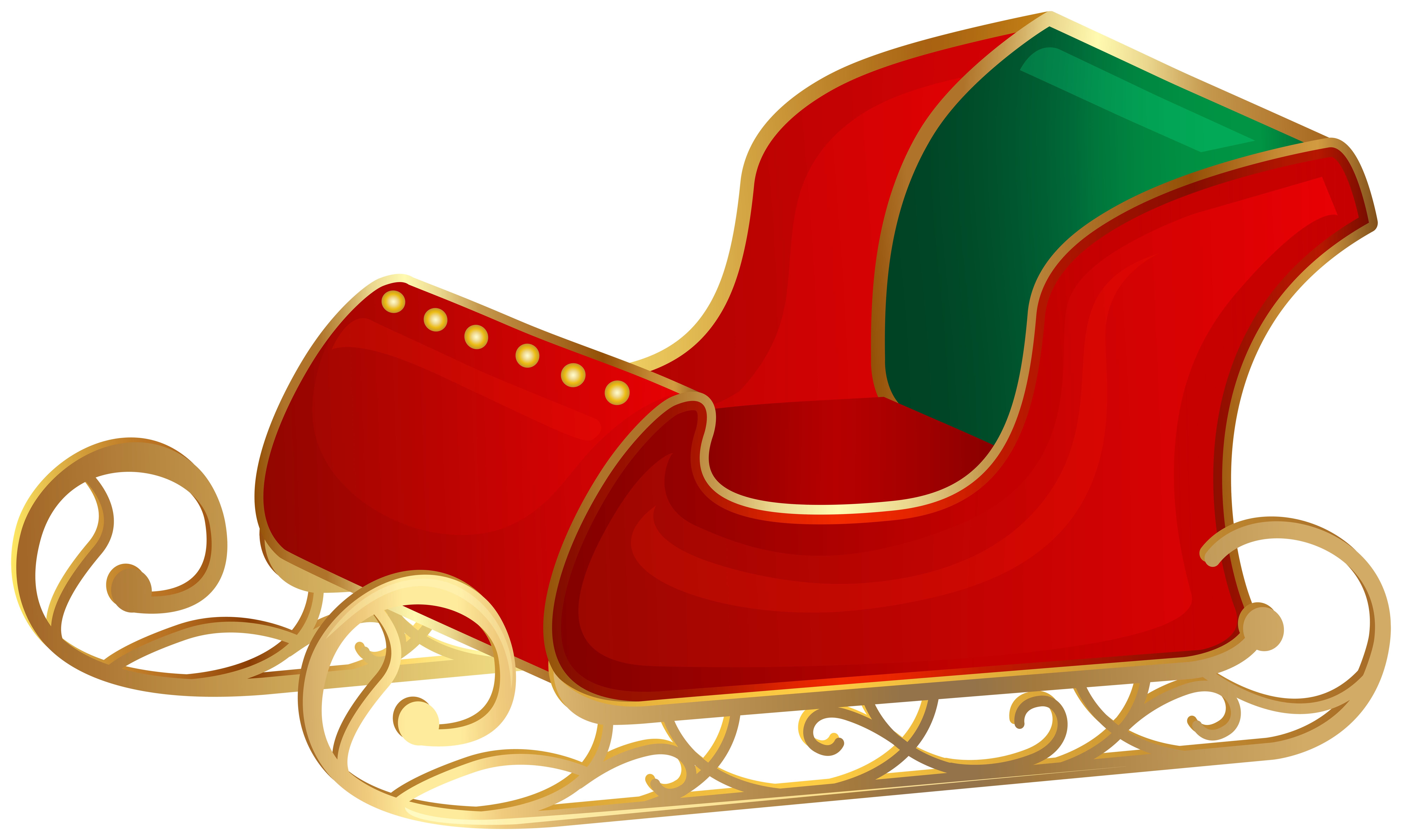 Christmas Santa Sleigh PNG Clip Art.