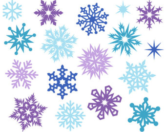 Items similar to Red and Blue Christmas Clipart, Snowflake Digital.