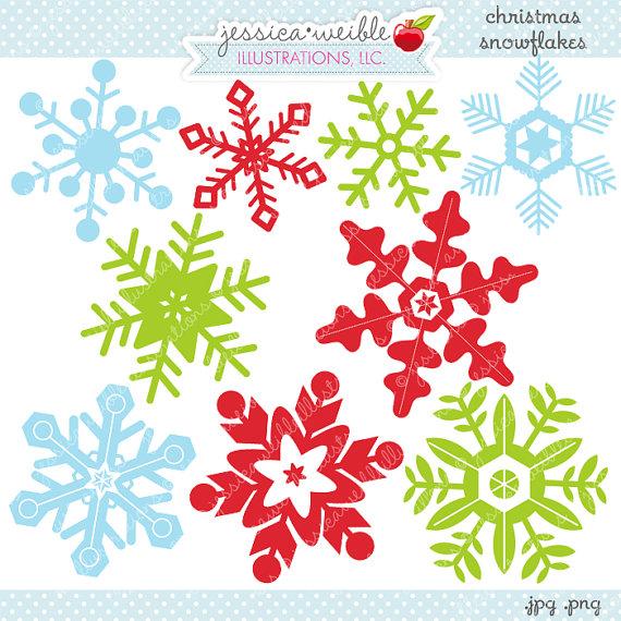 Christmas Snowflakes Cute Digital Clipart.