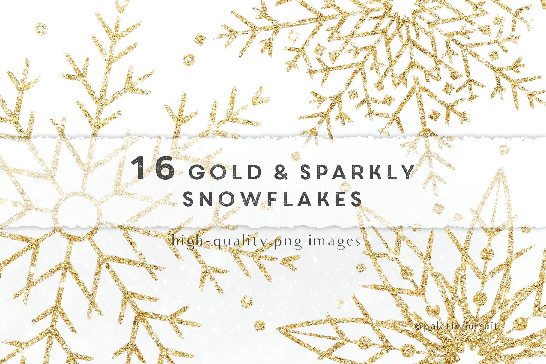 Gold glitter snowflakes clip art, Christmas clipart.