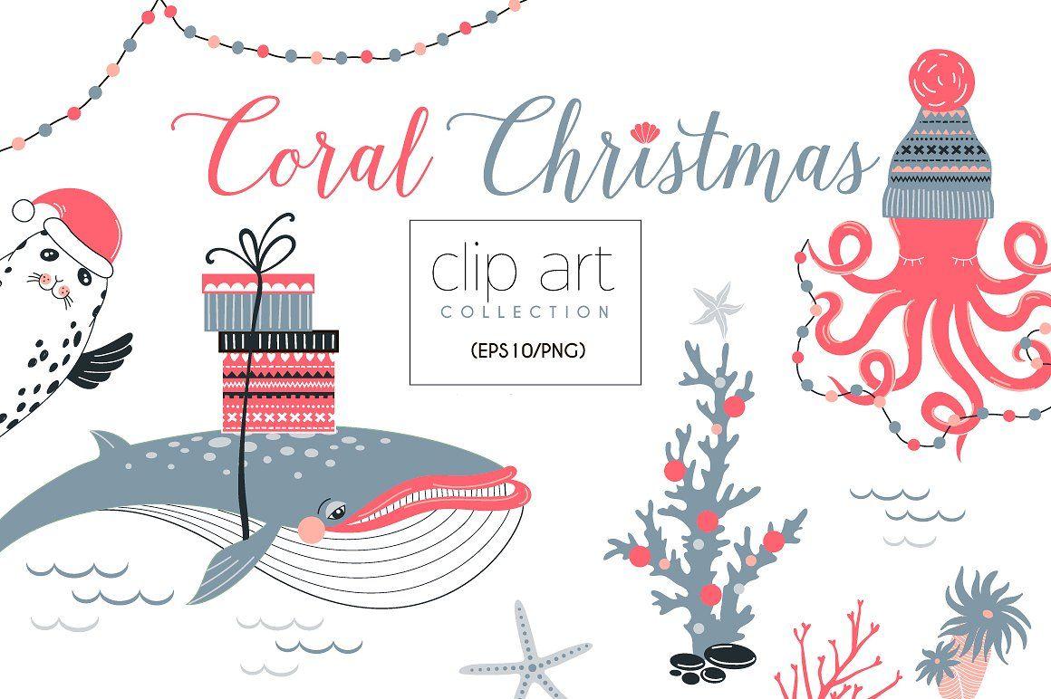 Coral Christmas clip art collection #set#elements#design.