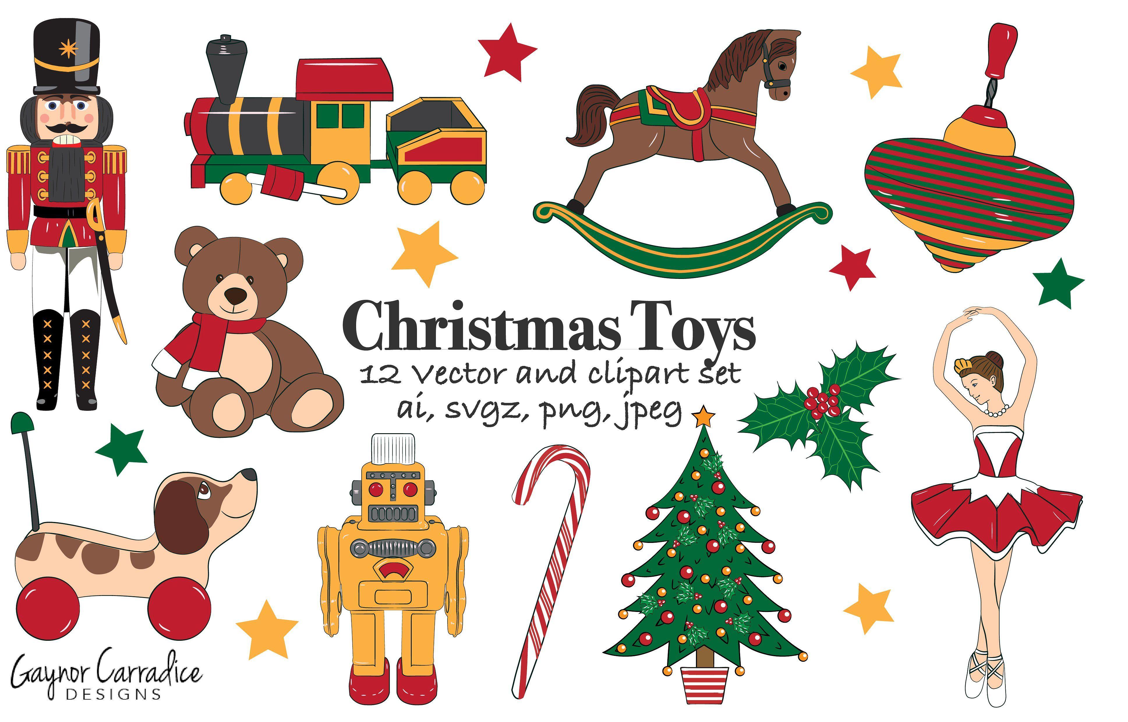 Christmas toys vector set.