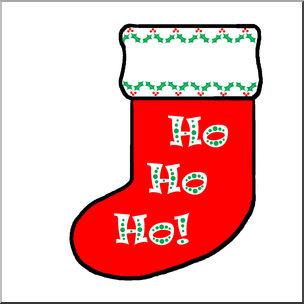 Christmas Stocking with Ho Ho Ho Message Clip Art (Color.