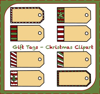 Christmas Gift Tag Clipart / Christmas Clipart.