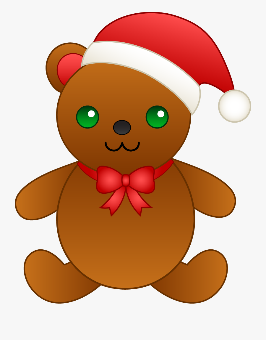 Christmas Teddy Bear With Santa Hat Free Clip Art Png.