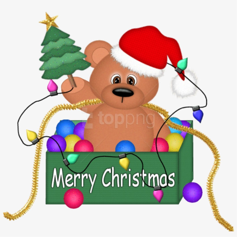 Christmas Bear With Lights Png Clipart.