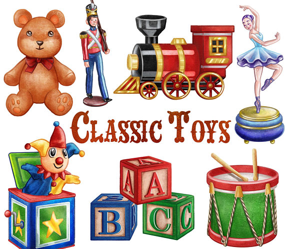 Classic Toys Clipart. Instant Digital Download. Teddy bear.