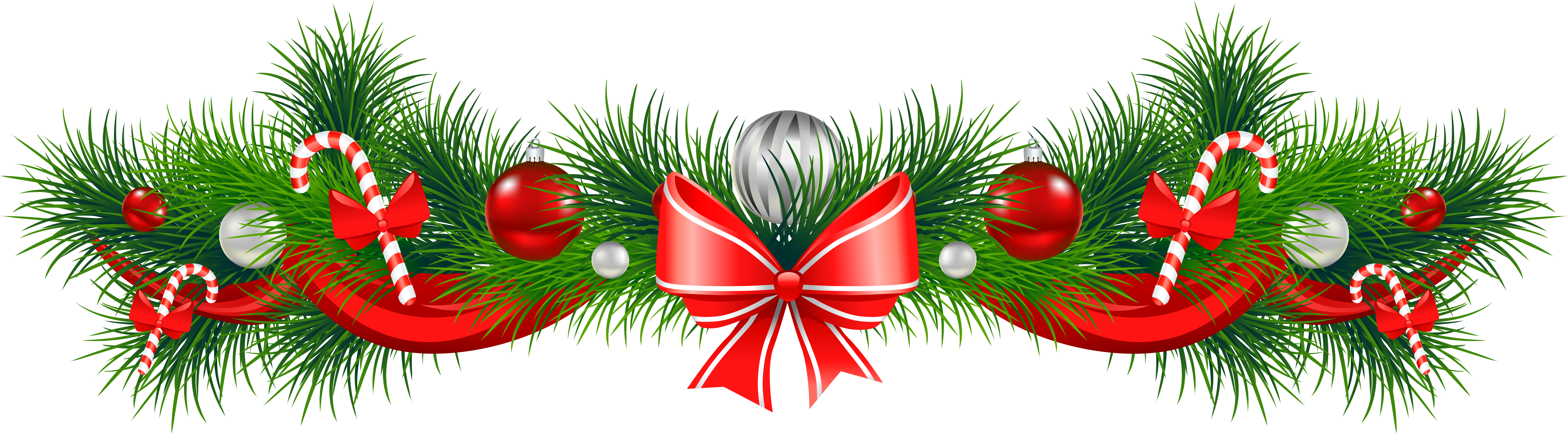 Transparent Background Christmas Garland Border Clipart.