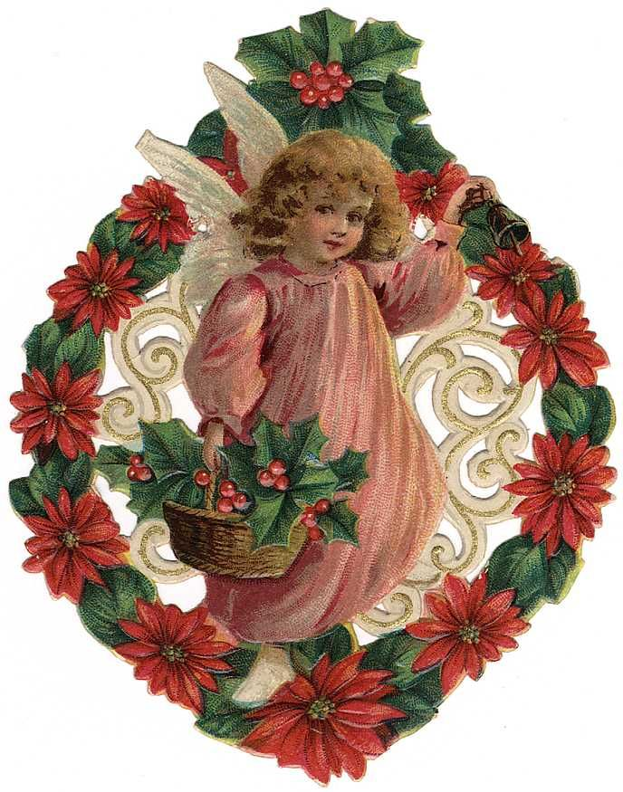 Free Vintage Christmas Angels Clip Art.