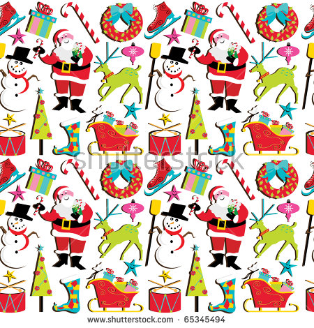 Cute Retro Inspired Christmas Clipart Wallpaper, Isolated On White.