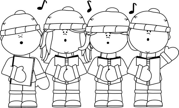 Christmas Carols Clipart Black And White Free.