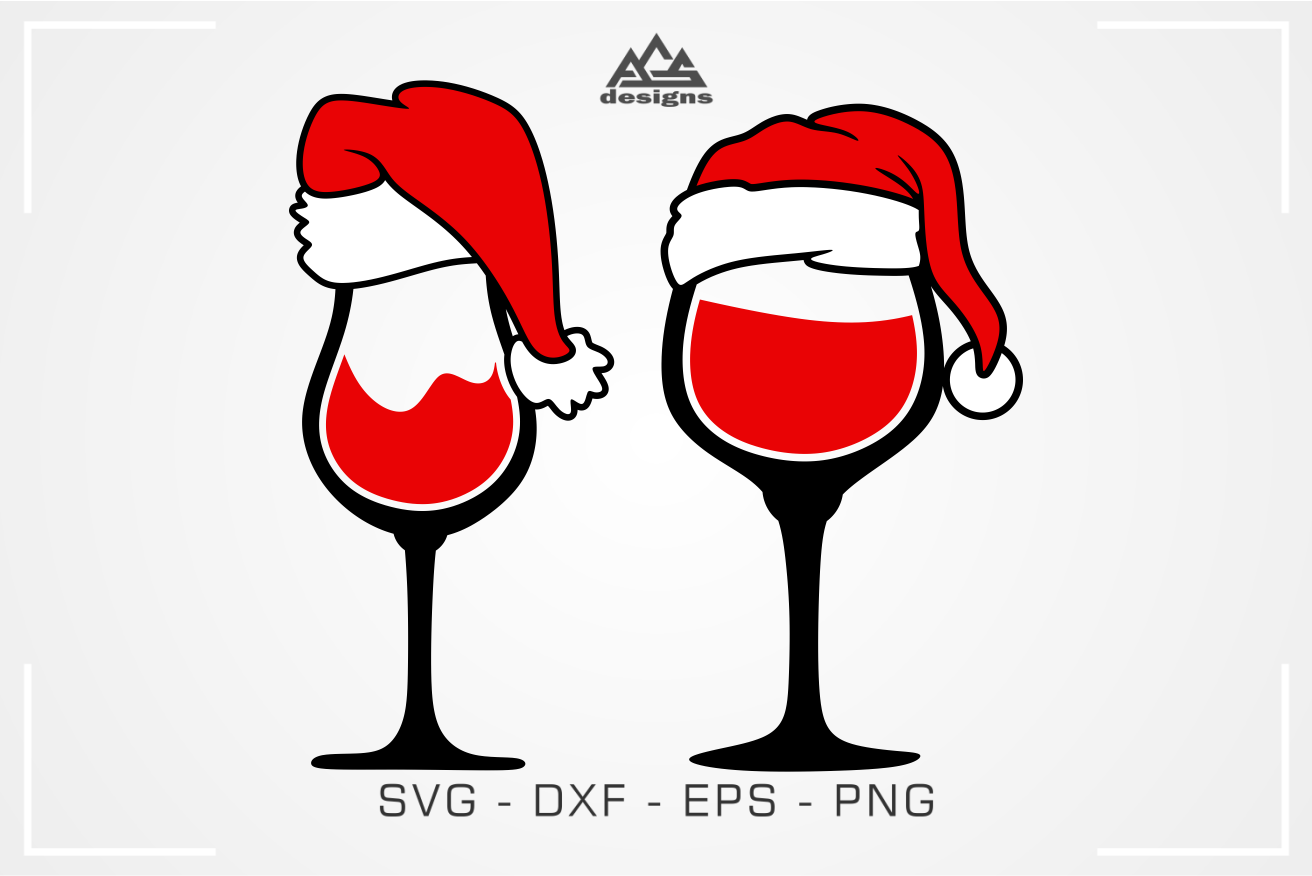 Christmas Santa Wine Glass Svg Design.