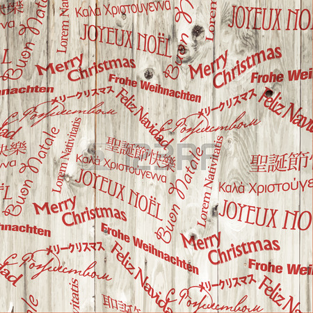 Christmas Words Pattern On Wooden Texture. Vector Royalty Free.