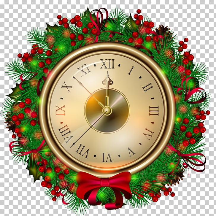 Christmas Eve Clock Santa Claus , Transparent Christmas.