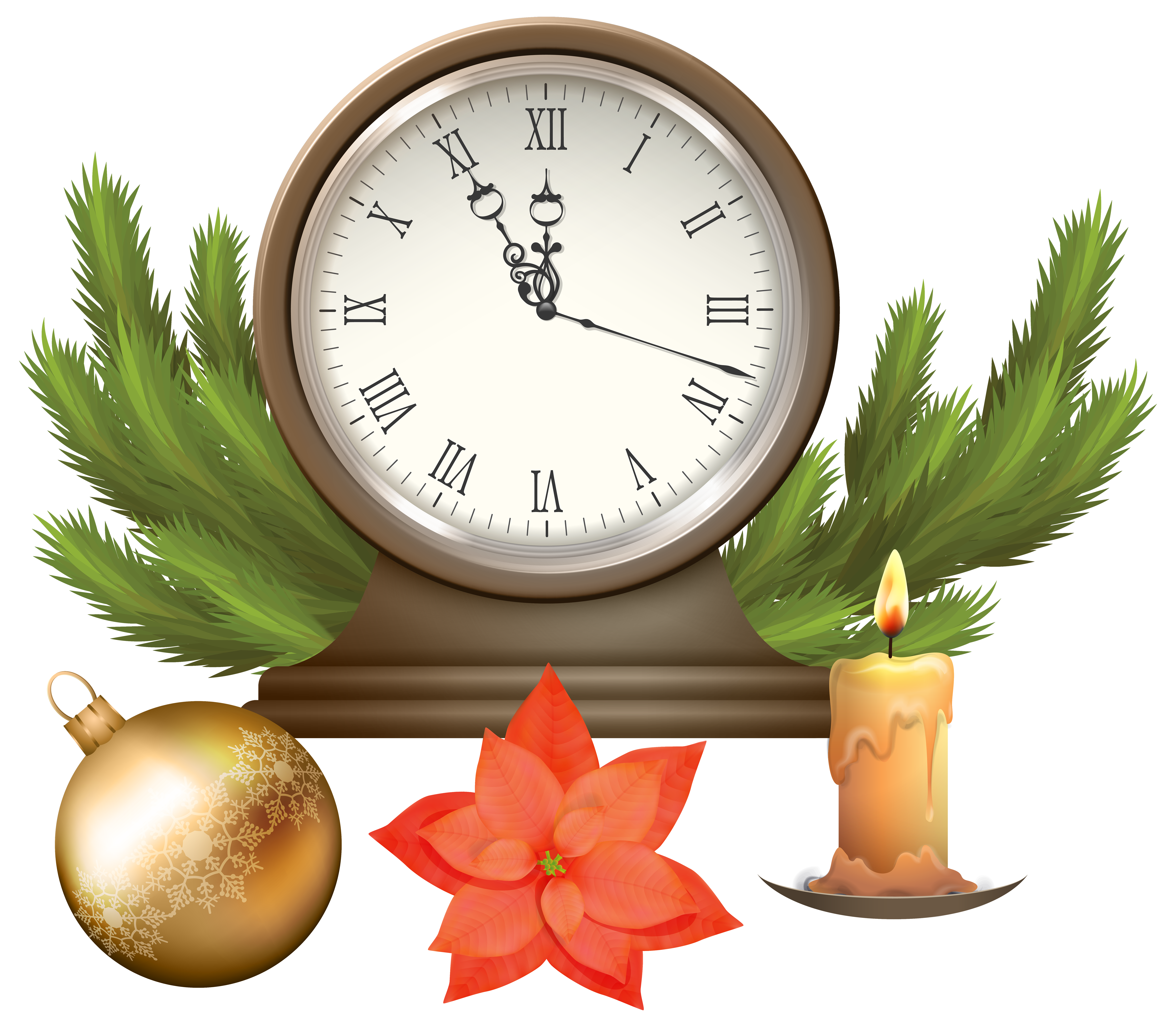 Christmas Clock with Decorations PNG Clip Art Image.