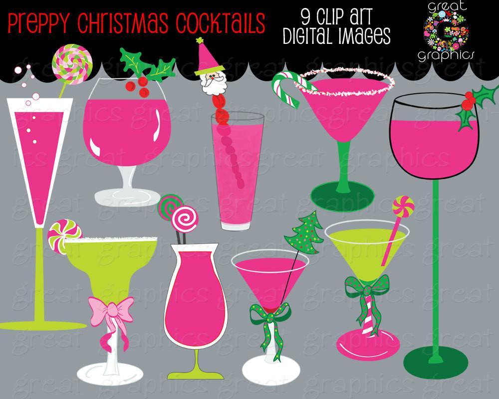 Christmas Clip Art Christmas Digital Clipart Margarita Clipart Preppy  Christmas Clip Art Martini Invitation Clipart.
