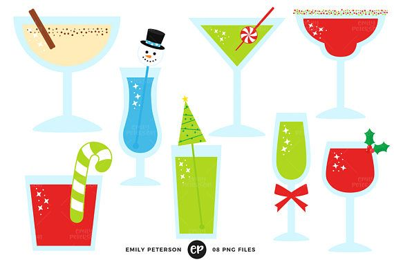 Christmas Clip Art, Cocktails Clipart, Holiday Drinks Clip.