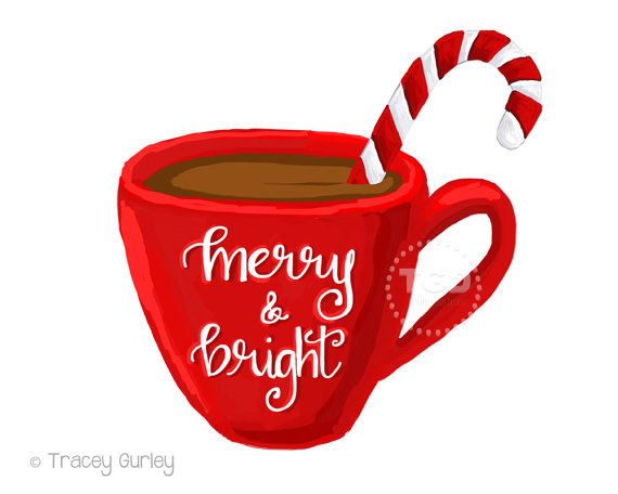 Merry and Bright hot cocoa clipart, coffee cup clipart, calligraphy.