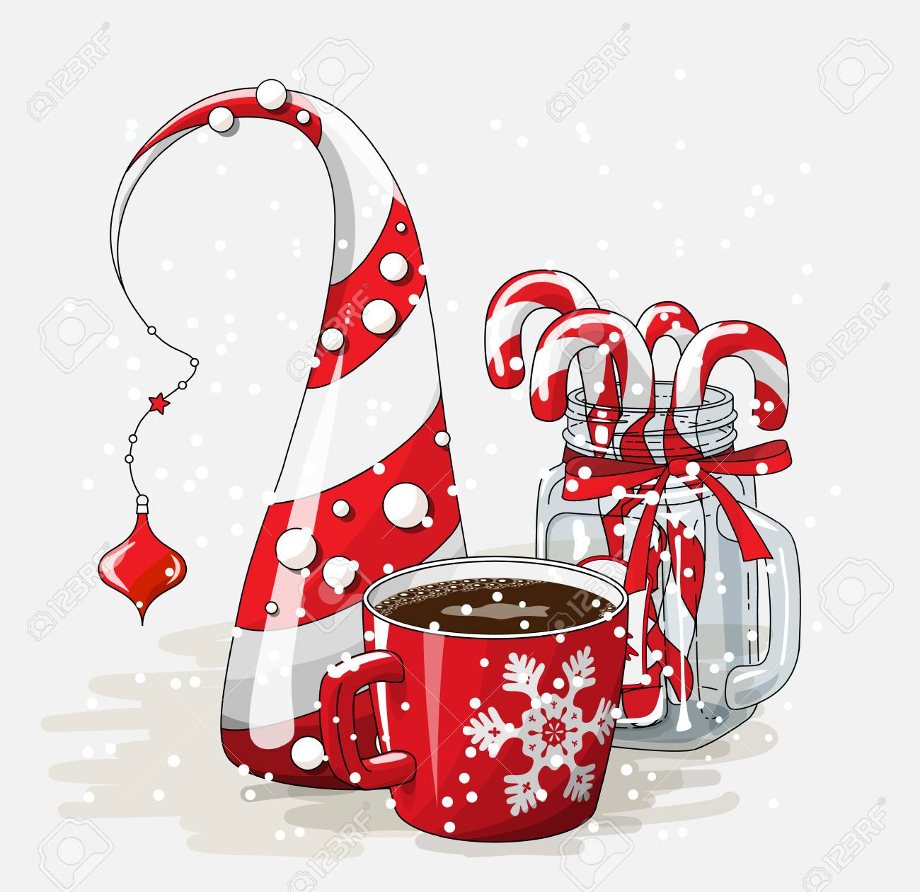Holidays Vintage Motive, Red Cup Of Coffee With Abstract Christmas.