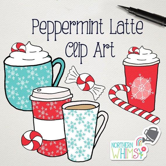 Christmas Coffee Clip Art Peppermint Latte.
