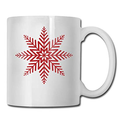 Amazon.com: Janeither Coffee Mug Red Christmas Snowflakes.