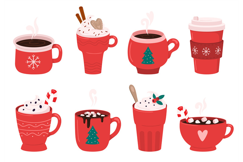 Christmas holiday coffee mug. Cocoa with marshmallows.