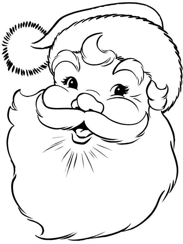 santa claus face clipart black and white - Clipground