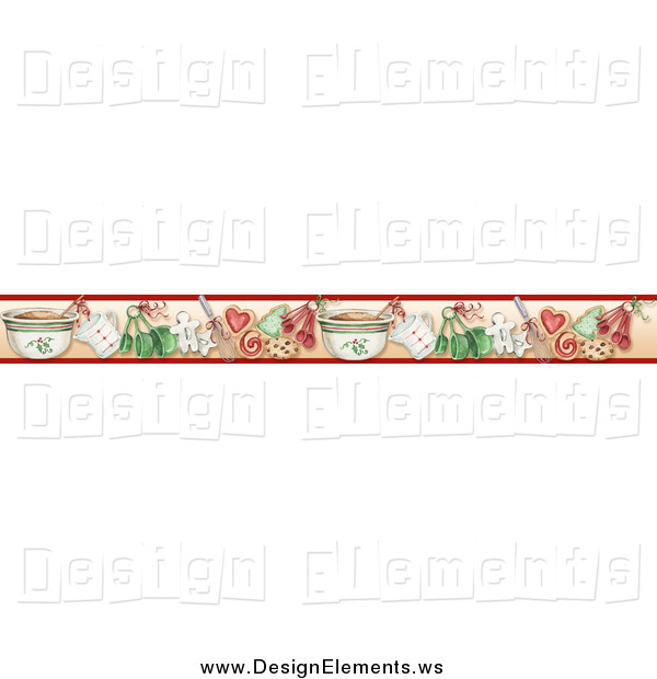 Clipart of a Border of Christmas Cookies and Baking Tools by Gina.