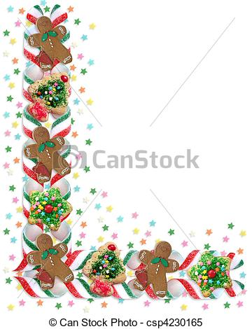 Stock Illustrations of Christmas Border Cookies and Candy.
