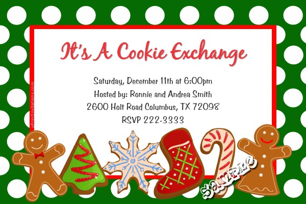 A Christmas Invitation Cookie Exchange Party.