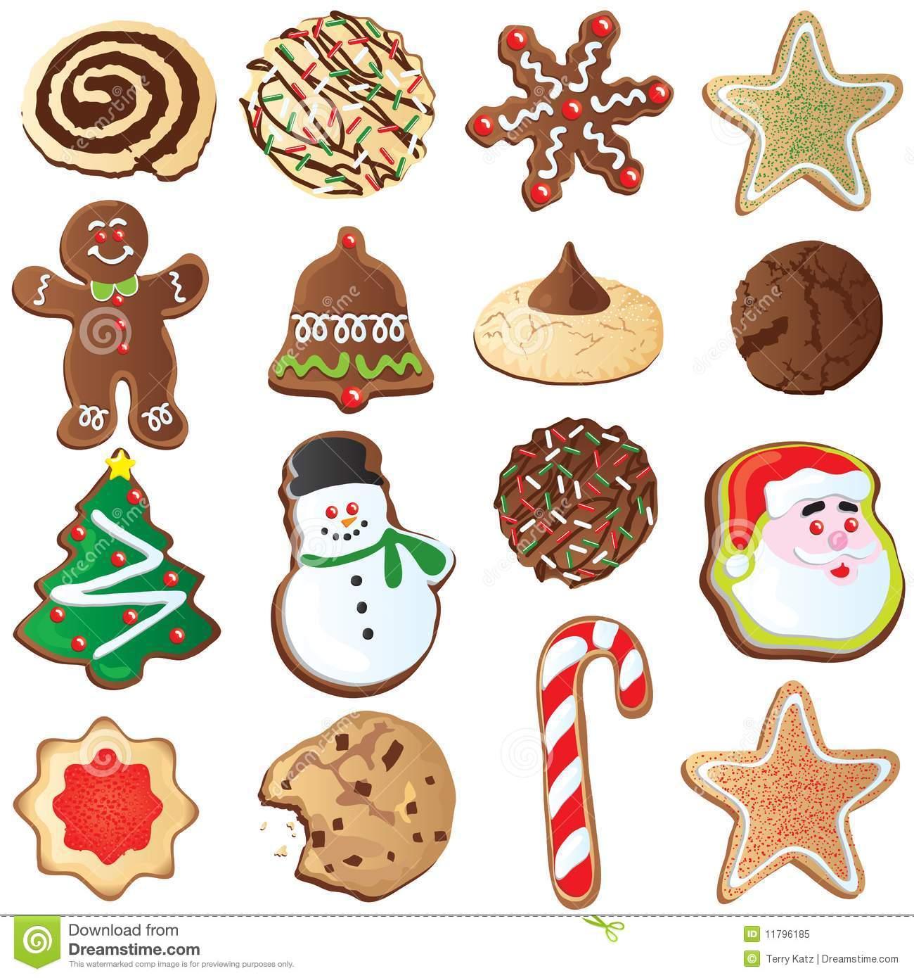 Cute Christmas Cookies Stock Illustrations.