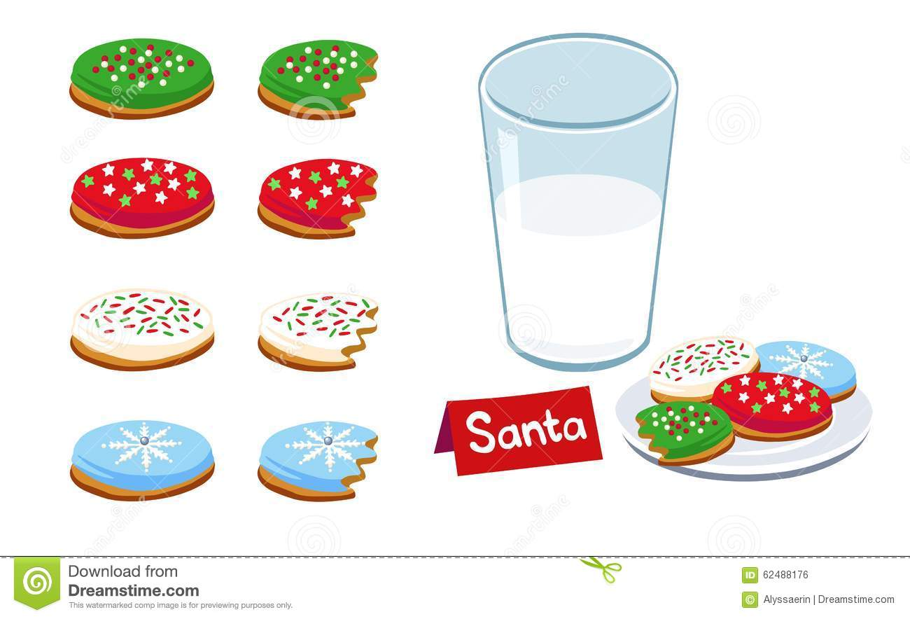 Christmas Cookies and Milk stock vector. Illustration of four.