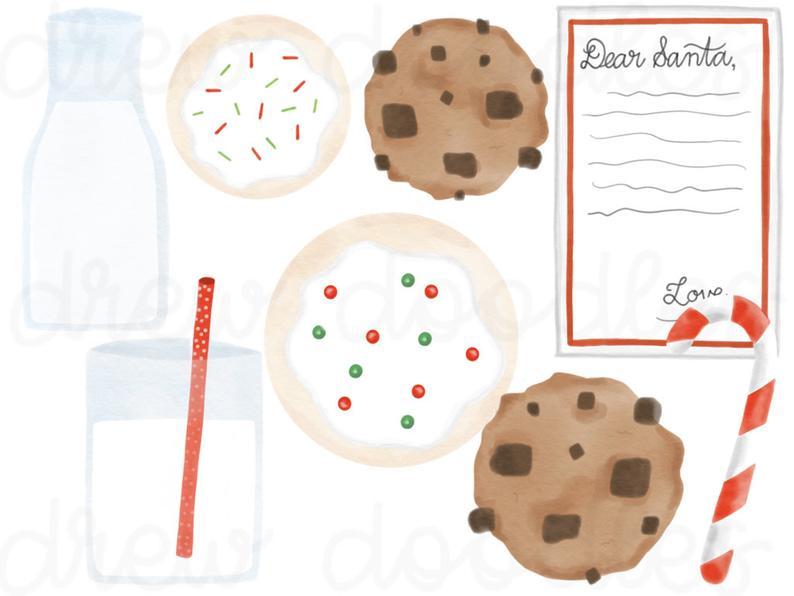 Watercolor Christmas Cookies and Milk for Santa Digital Clip Art Set.