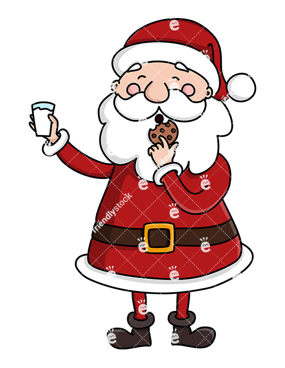 A Cute Santa Claus Eating A Cookie And Holding A Glass Of Milk.