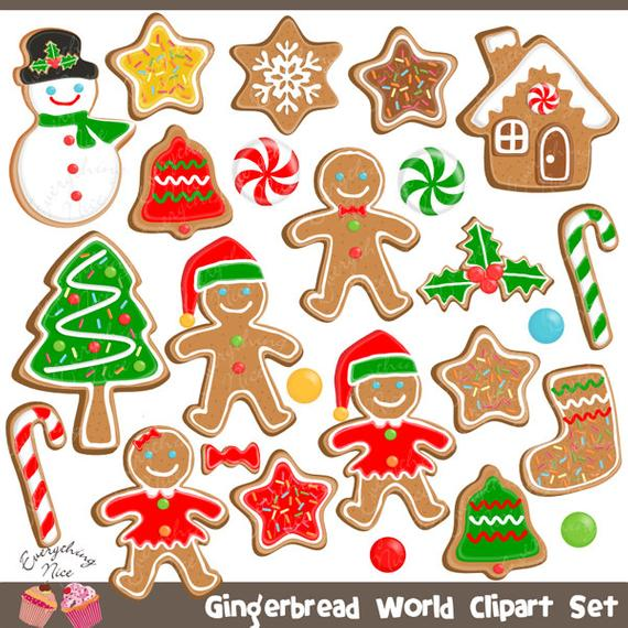Gingerbread Man Gingerbread Word Christmas Cookies Clipart Set by.