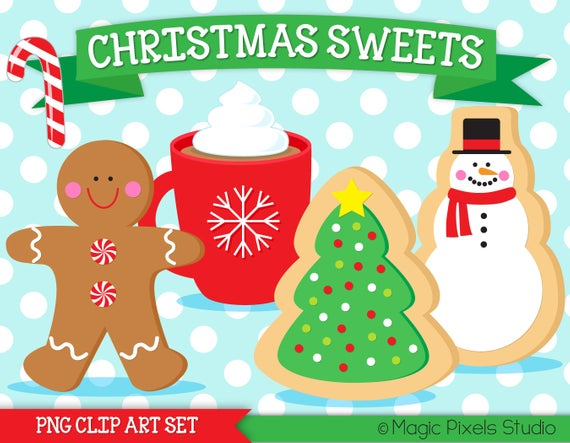 Christmas cookies clipart, Christmas clipart, Christmas cookie exchange,  gingerbread man, candy cane, hot cocoa clipart, INSTANT DOWNLOAD.