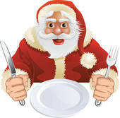 Santa Claus seated for Christmas Dinner Clipart.