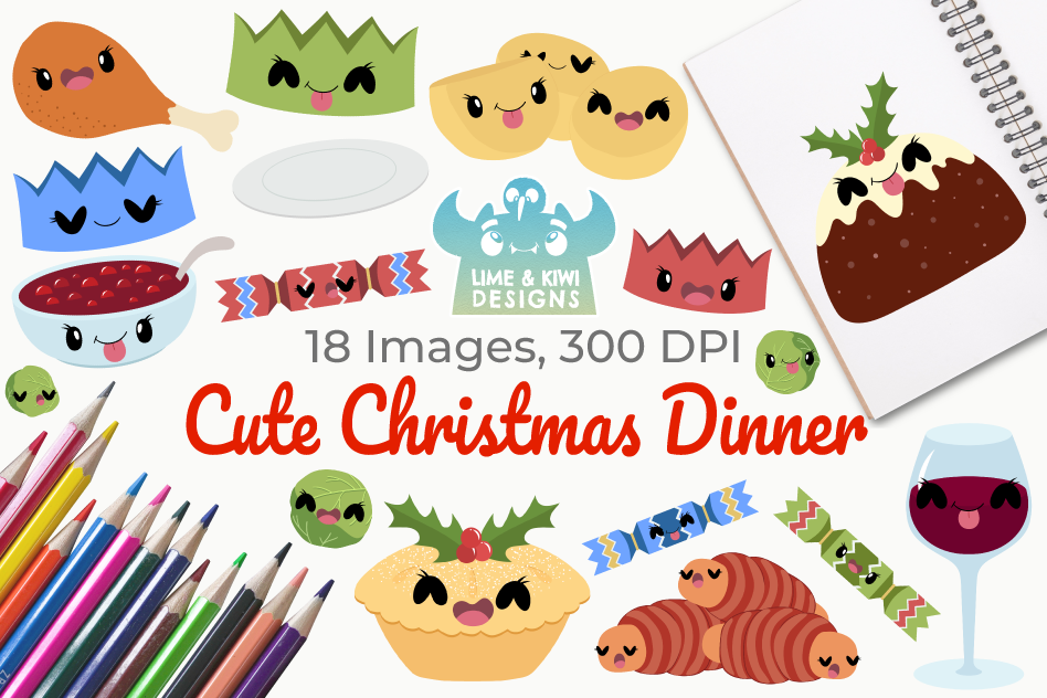 Cute Christmas Dinner Clipart, Instant Download Vector Art.