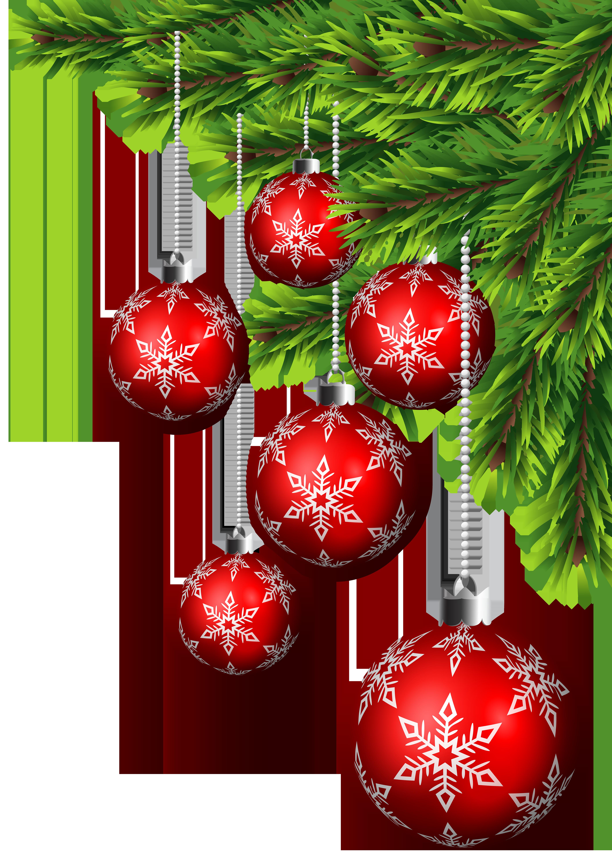 Christmas Balls Corner Decor PNG Clip Art.