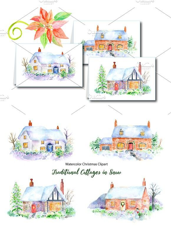 Christmas Cottage in Snow Clipart.