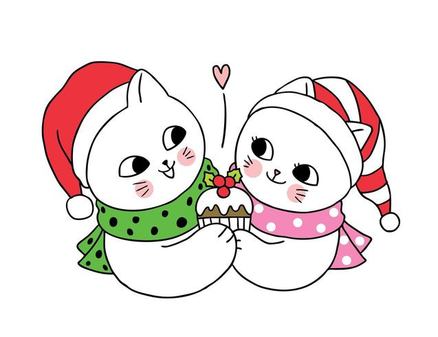 Cartoon cute Christmas couple cats and cupcake.
