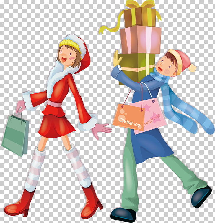 Christmas Significant other Illustration, Shopping couple.
