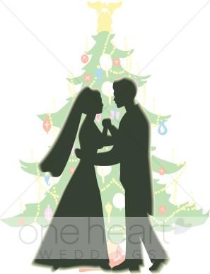 Christmas Wedding Couple Clipart.