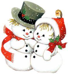 Snowman Couple Clipart.
