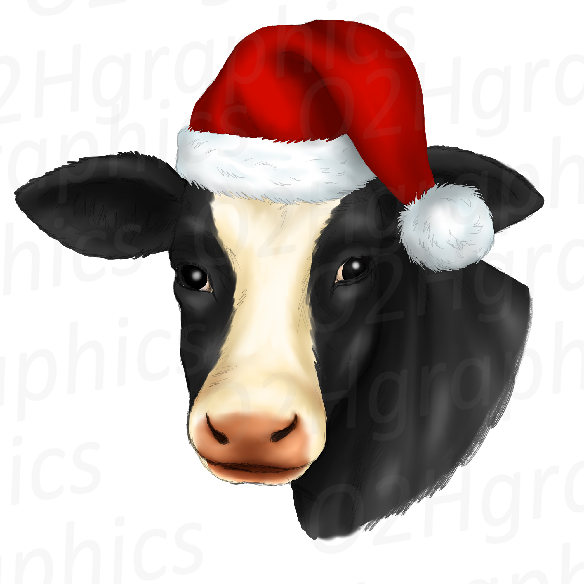 Christmas Cow Clipart, Sublimation Design, Watercolor Drawing, Cow Lovers,  PNG.