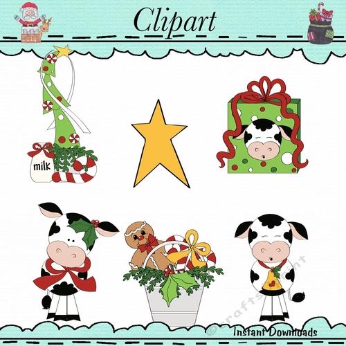 Christmas Cows Clip Art.